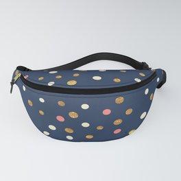 Hipster navy blue faux gold glitter modern polka dots Fanny Pack