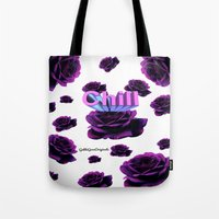chill Tote Bags featuring Chill  by Gabbi GOON