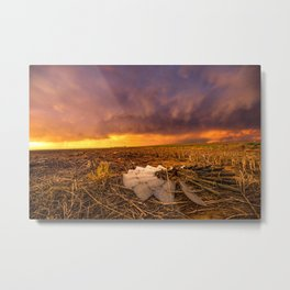 Lost In Time - Broken Windmill and Stormy Sky in Kansas Metal Print