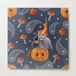 Owl Halloween Metal Print