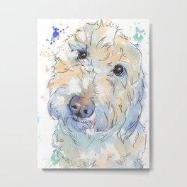 Blue Ombre Golden Doodle Design Metal Print