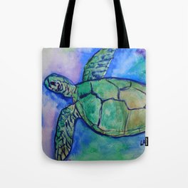 Sea Turtle Watercolor Painting Tote Bag