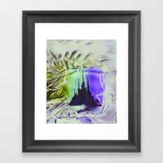 Purple alien cityscape Framed Art Print