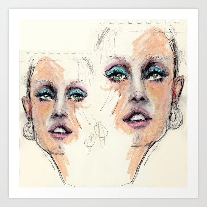 Portrait study. Rough sketch Art Print