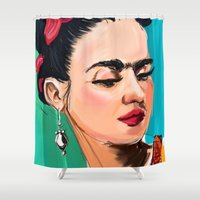 frida Shower Curtains featuring Frida by Jaleesa McLean