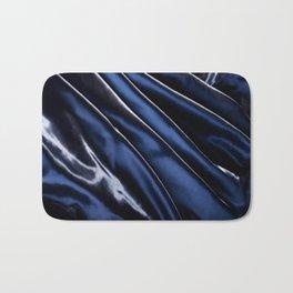 Dark blue glossy crumpled satin Bath Mat