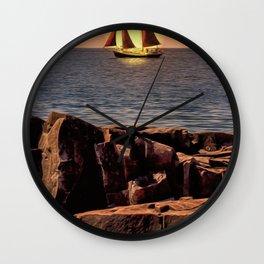 Sailing In Grand Marais Wall Clock
