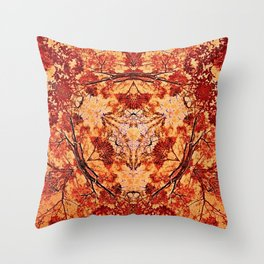 Red Flora Throw Pillow