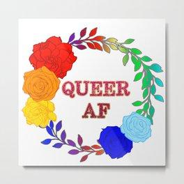 QUEER AF - A Rainbow Floral Wreath Metal Print