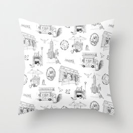 Squirrels and Pigeons take NY Throw Pillow