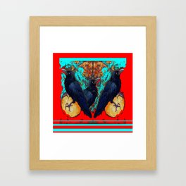 Crow-Ravens Family Red Southwest Style Abstract Framed Art Print