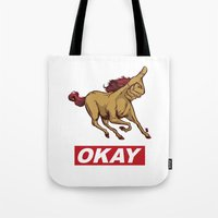 okay Tote Bags featuring OKAY by Thomcat23