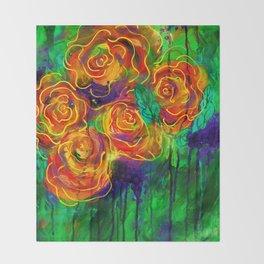 Vibrant Orange Flowers Throw Blanket