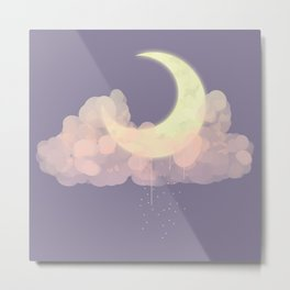 Cloudy Moon Metal Print