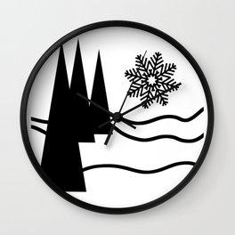 Christmas Trees and Snow Wall Clock