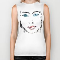 no face Biker Tanks featuring face by Artemio Studio