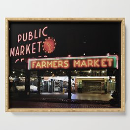 Pike Place Farmers Market - at night Serving Tray
