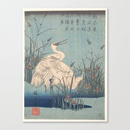 Egret in Iris and Grasses, Hiroshige Canvas Print