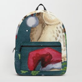Cute Christmas Winter Owl Couple Painting Backpack