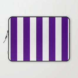 Indigo violet - solid color - white vertical lines pattern Laptop Sleeve