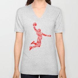 Basketball RED Unisex V-Neck