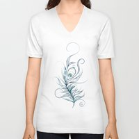 peacock feather V-neck T-shirts featuring Peacock Feather by LouJah