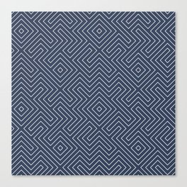 Tribal Maze Navy and White Canvas Print