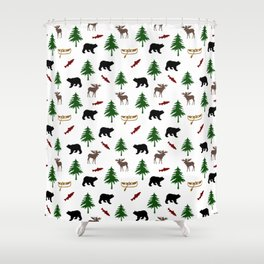 Moose Bear Shower Curtain