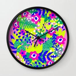Pink Tropical Flower Pattern Wall Clock