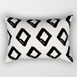 Modern Diamond Pattern Black on Light Gray Rectangular Pillow