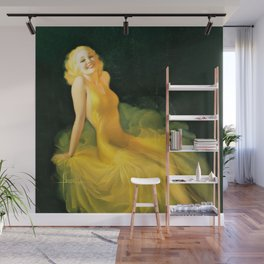 "Pinup by Rolf Armstrong ""The Yellow Gown"" Wall Mural"