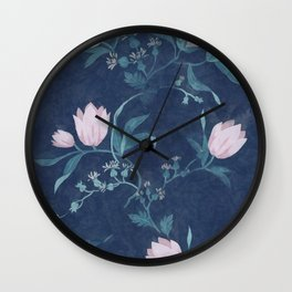 Pink tulips pattern on a dark background Wall Clock