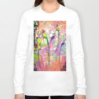 batik Long Sleeve T-shirts featuring BATIK BIRDS by AlyZen Moonshadow