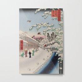 Atagoshita Yabu Lane Snow Scene Vintage Ukiyo-e Japanese Art Metal Print