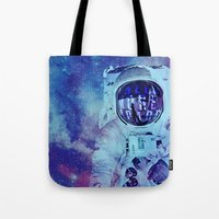 spaceman Tote Bags featuring SPACEMAN by Mariana Andrea