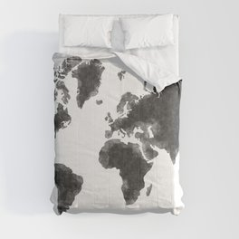 World Map Black Sketch, Map Of The World, Wall Art Poster, Wall Decal, Earth Atlas, Geography Map Comforters