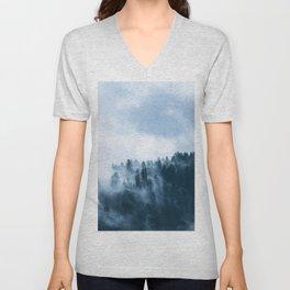 Fog - Forest - Conifers - Trees - Coniferous. Little sweet moments. Unisex V-Neck
