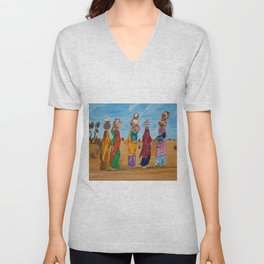Indian women chit chatting and gossiping while crossing a desert to fetch some water by Abha Unisex V-Neck