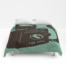 World Domination for Cats (Green) Comforters
