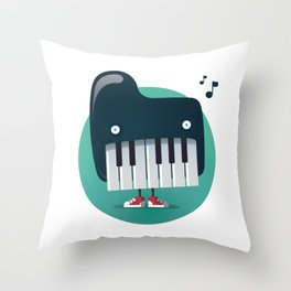 Piano Monster Throw Pillow