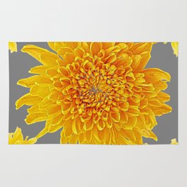 Golden Yellow Chrysanthemums grey color Art Design Rug