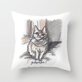 Portrait of Phoebe the Cat Throw Pillow