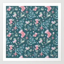 Pastel Christmas retro pattern Art Print