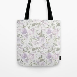 Modern vintage pastel lilac green watercolor floral Tote Bag