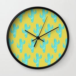 Linocut Cacti Desert Wall Clock