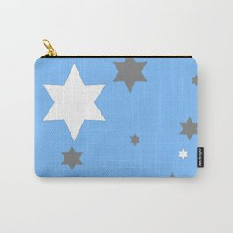 SIMPLY GREY & WHITE STARS ON BABY BLUE DESIGN Carry-All Pouch