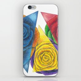 Complimentary Color Rose Trio With Geometric Triangles iPhone Skin