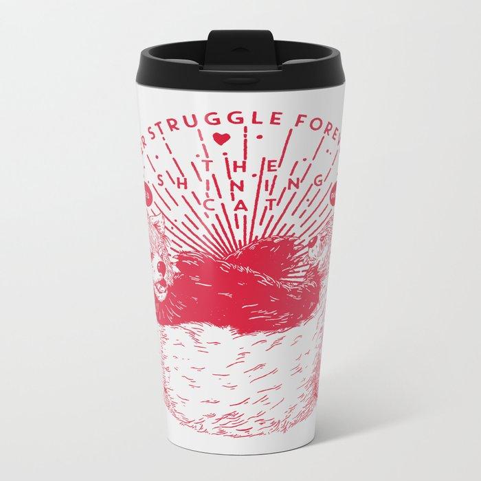Red Panda Struggle Metal Travel Mug
