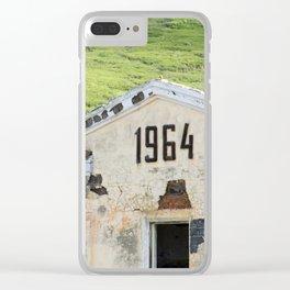 1964. Buildings of the old abandoned mercury mine Aktash. Altai Mountains, Siberia, Russia. Clear iPhone Case