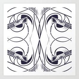 Navy & White Chic Line Art Art Print
